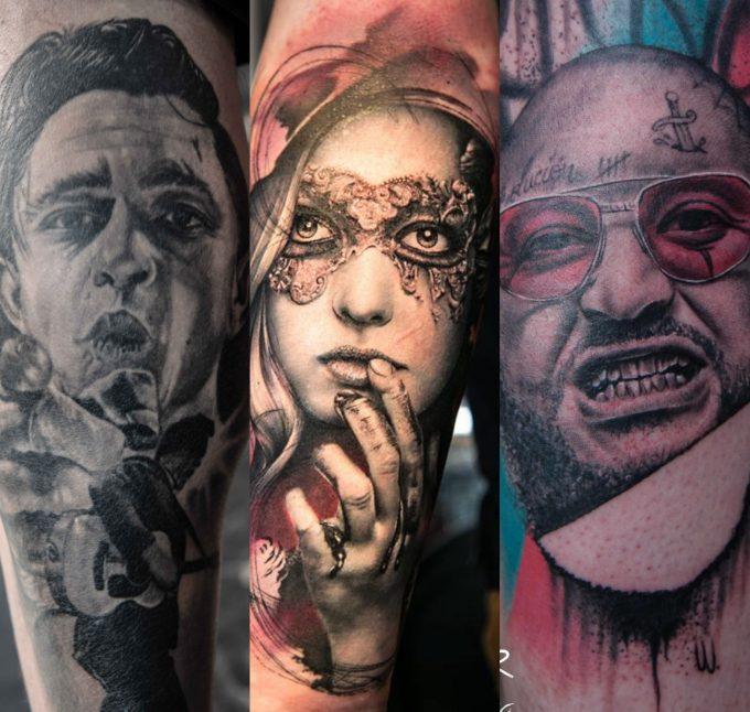 Galerie : les tatouages de portraits du Corsair Tattoo Ink